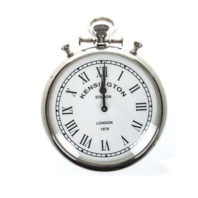 Silver Chrome Pocket Watch Wall Clock Round Kensington Vintage Antique Numeral