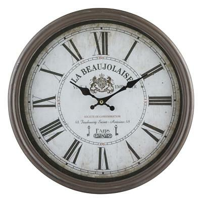 40Cm Large Paris Rustic Wall Clock Round Brown Shabby French Country Numerals