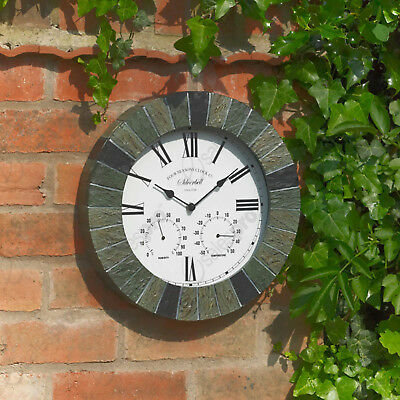 "14"" Silverbell stone effect outdoor clock humidity meter and thermometer"