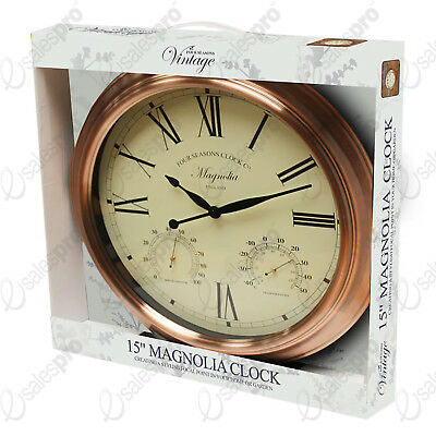 """15"""" Magnolia copper effect outdoor clock with thermometer and humidity"""