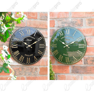 """Choice of green or black 12"""" polyresin clocks UV resistant outdoors or in"""