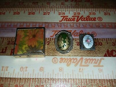 Lot of 3 Vintage trinket/pill box, Victorian  Brooch and Gold tone Locket