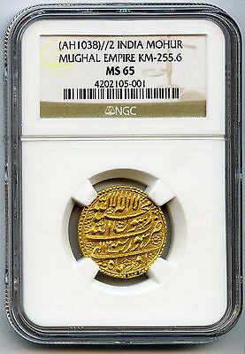 (AH1038)//2 (AD 1628) India Gold Mohur Mughal Empire NGC MS 65 Possibly Finest