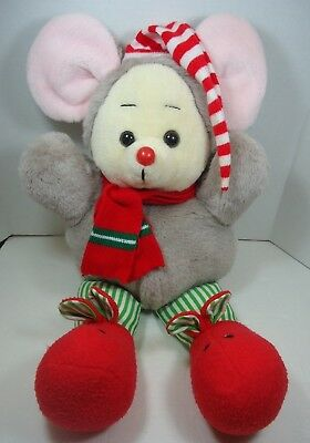 """Vintage Kmart Dan Dee 22"""" Gray Christmas Mouse Plush 1986 Red Slippers Nose"""
