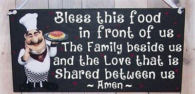 Fat Chef Italian Bless This Food Family Sign Wall Kitchen Bistro Cucina Decor ~
