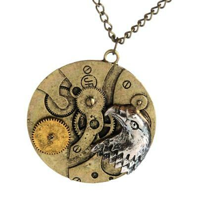 Gothic Steampunk Watch Movement Parts Gear Eagle Pendant Necklace Chain