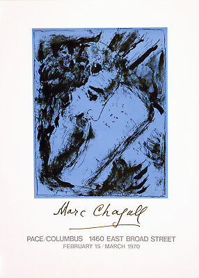 Original Vintage Exhibition Poster Marc Chagall Pace Columbus Gallery 1970 Ohio
