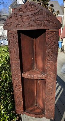 Antique Original Folk Art Hand Carved Wooden Corner Shelf / Carved Snake, Axe,
