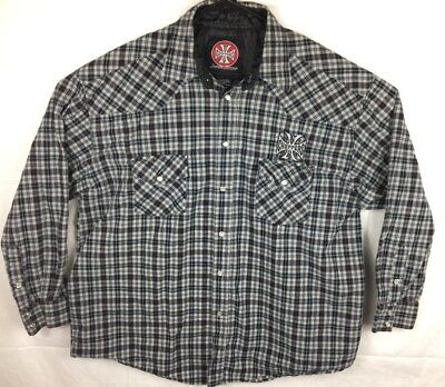 West Coast Choppers by Jesse James Xl Plaid Pearl Snap Lightweight Flannel Shirt