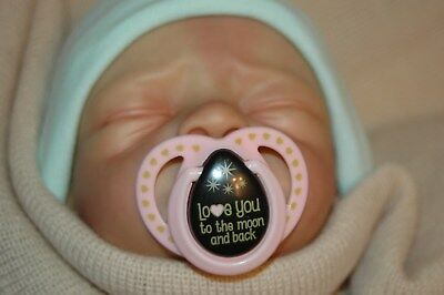 Magnetic Pacifier for Reborn Doll - Pink Love You To The Moon...