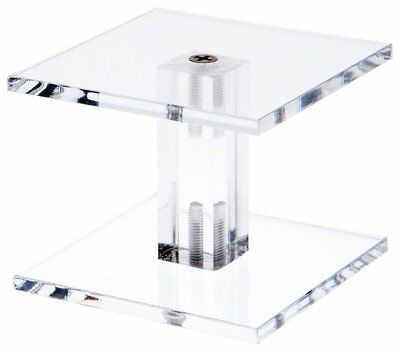 """Plymor Brand Clear Acrylic Square Barbell Pedestal Riser 4.375"""" H x 3"""" W x 3"""" D"""