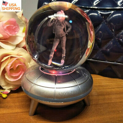 Harley Quinn 3D LED Crystal Night Light Table Lamp Crafts Brithday Gift 50mm