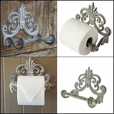 DECORATIVE Vintage Cast Iron Wall Mounted Rack Tissue Toilet Paper Roll Holder