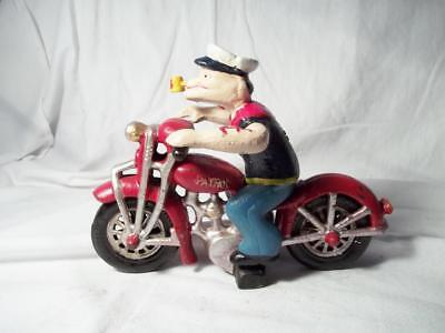 Cast Iron Popeye Riding Motorcycle With Moving Arms Harley Davidson Free Ship