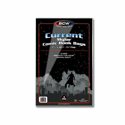 25 BCW Current/Modern Comic Mylar Archival Safe - 4 Mil Bags/Sleeves Acid Free