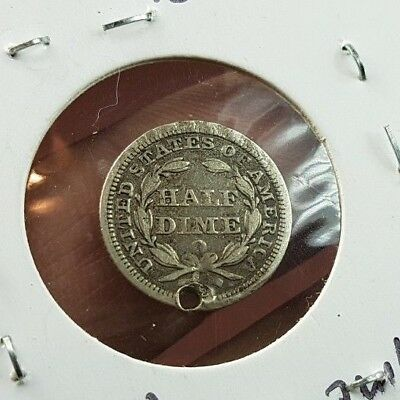 USA Silver Half Dime, genuine silver coin..1858...holed.