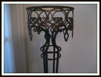 Antique Art Nouveau Ornate Cast Iron Fish Bowl Terrarium Plant Stand