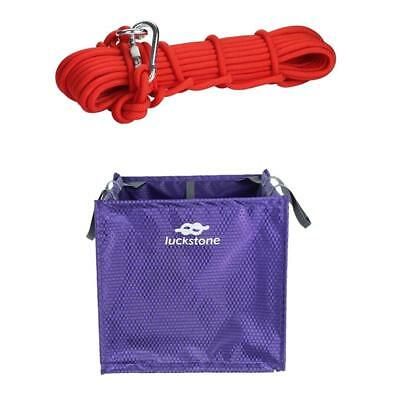 Throw Line Deploy Storage Cube Bag + Red 10mm 10m Climbing Steel Wire Rope
