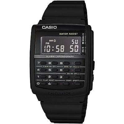 Casio Ca506b 1a Black Stainless Steel Calculator Watch Vintage Style Blackout