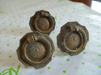 3 Attractive Old Matching Cast Brass Single Hole Drawer Pulls, Free S/H