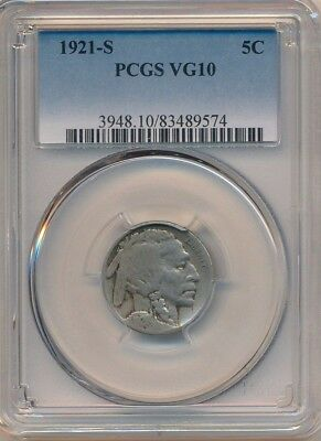 1921-S Buffalo Nickel -Semi Key Date! Pcgs Graded Vg10-Ships Free!
