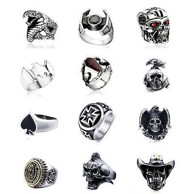 Vintage Fashion Titanium Stainless Steel Mens Gothic Rock Punk Ring Cool Jewelry