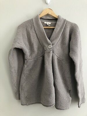 Old Navy Maternity Nursing Friendly Gray Popcorn Knit Sweater Small lambswool