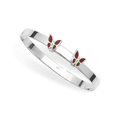 Silver Baby/Childs Enamel Butterfly Expandable Bangle