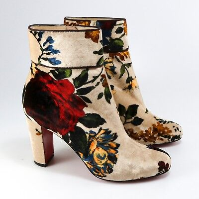 the latest 62887 2423b CHRISTIAN LOUBOUTIN 38.5 Euro Moulamax 85mm Velvet Floral Booties Boots A480
