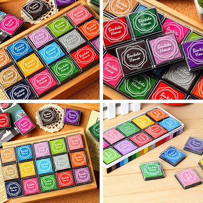 20x DIY Craft Finger Print Ink Pad Inkpad Rubber Stamp Inkpads Toys Kids Game