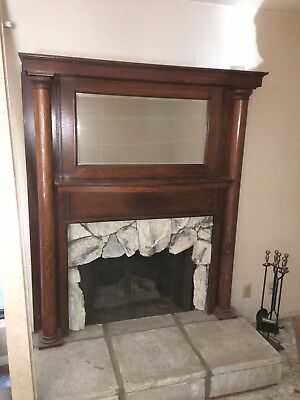 Late 1800's Early 1900's Vintage Victorian Fireplace Mantel w/ Original Mirror
