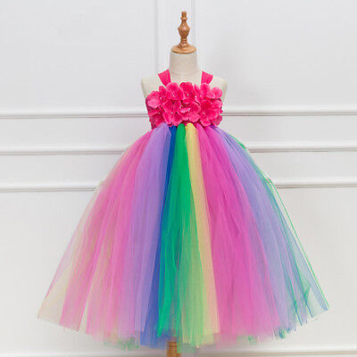 Girl's Flower Girls Tutu Fairy Princess Dress Rainbow And Red Wedding Party 3-12