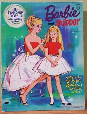 Vintage Barbie & Skipper Paper dolls with matching outfits 1964