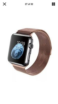 Rose Gold 38mm Milanese Loop Stainless Steel Apple Watch Band Magnetic Closure