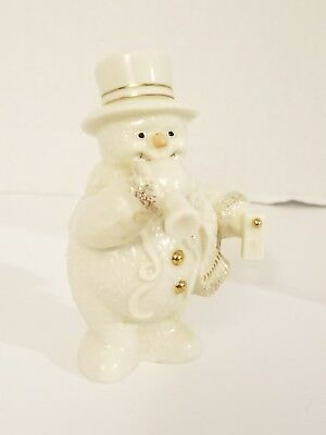 "Lenox Celebration Snowman Porcelain Figurine With Gold Accents (4""Tall)"