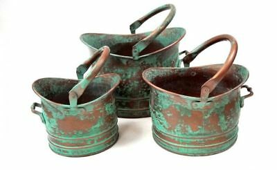 Distressed Rustic Green Metal Planter, 13-Inch, 11-Inch and 9-Inch, Set of 3