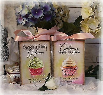 "A set of Two ""Cupcakes"" ~ Country Shabby Chic Cottage style ~ Wall Decor Sign"