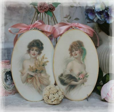 "Two ""Victorian Women"" ~ Shabby Chic ~ Country Cottage style ~ Wall Decor Sign"
