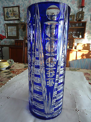 "Vtg Cobalt to Clear Hand Cut Crystal Cased Glass Tall Vase 11 3/4"" H"