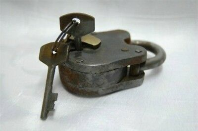 "Antique Style Iron Padlock Lock Rustic Finish 2.5"" with Skeleton Keys - NEW"