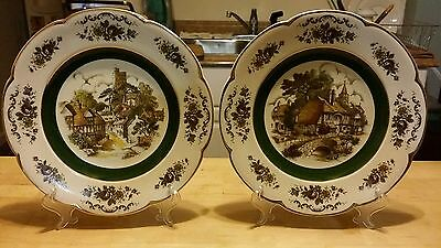 Vintage ceramic porcelain Ascot service plates by Wood and Sons England