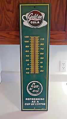 Vintage 1960 Golden Girl Sun Drop Cola Thermometer W/glass Tube