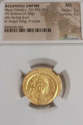 Byzantine Empire Maurice Tiberius AV Solidus NGC MS 5/5 ancient gold coin