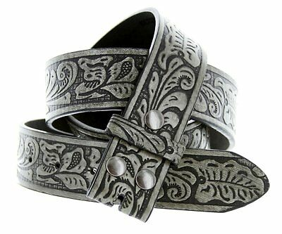 """Hagora Men Leaf Pattern Embossing 1.5"""" Wide Bonded Leather Strap With Snaps"""