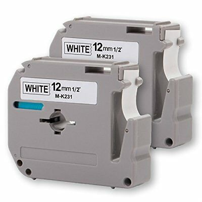 """2Pk Onirii Compatible Brother P-Touch M231 Mk231 M-K231 Label Tape 0.47""""12Mm On"""