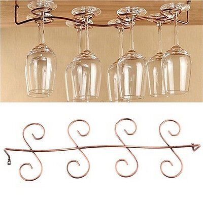 6/8 Wine Glass Rack Stemware Hanging Under Cabinet Holder Bar Kitchen Screwstj1