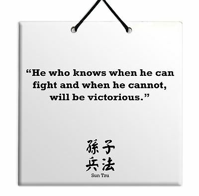 Sun Tzu - Quote Wooden Wall Hanging Plaque TILE Home Decor Gift Sign