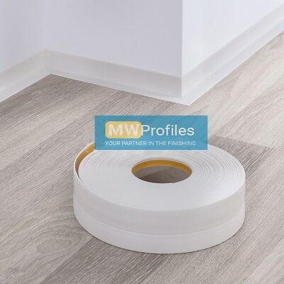 WHITE PVC FLEXIBLE SKIRTING BOARD - SELF-ADHESIVE - 5 and 15 METER LENGTH
