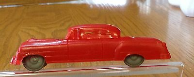 Vintage Red Plastic Car 2 Door With Aluminum Color Plastic Wheels Marked #15