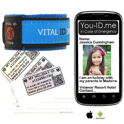 Child Safe HOLIDAY ID Alert Bracelet SMS Parents Phone* Lost Missing Children